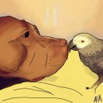 Digital painting of a pit bull and his best friend which is an African Grey